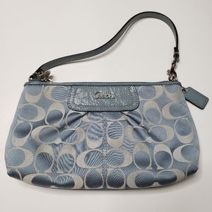 Coach clutch light blue and silver